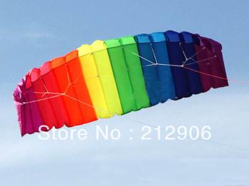 Free shipping high quality rainbow power parachute kites with handle line so beautiful ripstop nylon fabric kite traction kite