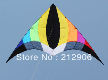 Free shipping high quality rainbow tulip delta kites with handle line so beautiful ripstop nylon fabric kite traction kite