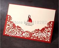 Promotion 10pcs/lot Red Hollow Flower laser cut Wedding Invitation Card + Envelope+Seal+Blank inside Cards Wedding Favors