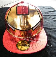 Free shipping, wholesale drop shipping kpop iron man cap running man  hat k-pop summer unisex PU high quality Red cool cap