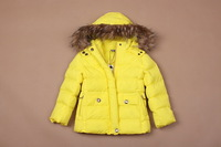 2013 new free shipping, girls winter coat fur collar hooded boy, girls coat
