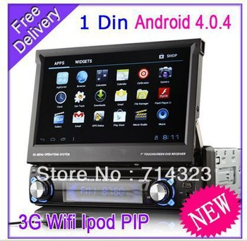 "1 Din 7"" Car Android 4.0 DVD Car PC GPS System WIFI 3G Bluetooth Radio RDS in dash TV tuner 3D Menu PIP IPOD USB AUX Free Map"