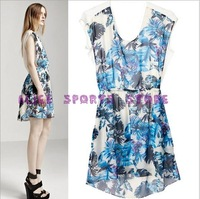 2013 New Fashion Lady Blue Tropical Forests Print Sleeveless Dress Elegant Slim Women Brand Design Casaul Vest Dresses