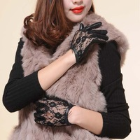 free shipping Summer women's sunscreen Genuine leather gloves sheepskin fashion style sexy lace