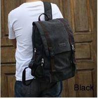 Men's Preppy Style Canvas Backpack Vintage Laptop Backpack Double Shoulder Bag Free Shipping