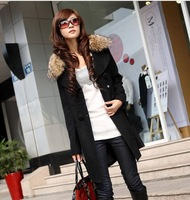 2013 Jeanswest women's autumn and winter medium-long trench woolen outerwear double breasted casual overcoat fur collar