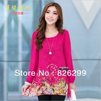 2013 new large size women fat people thin hollow chiffon shirt shirt printing T-shirts