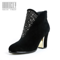 2014 women's fashion shoes rhinestone martin boots high-heeled fashion boots genuine leather boots free shipping