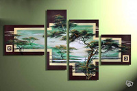 100% Hand made promotion Spring green forest bird High Q. Abstract  landscape Wall Decor Oil Painting on canvas 4pcs/set  Framed