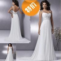vestido de noiva 2014 fashionable double shoulder strap lace decoration beads ruffle    wedding dress bride bridal gown dresses