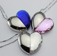 UP047  Wholesale necklace jewellery2GB 4GB 8GB 16GB 32GB B USB Heart Crystal Flash Memory Drive Stick ispread free ship