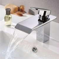 Free Shipping Bathroom Brass Chrome Single Hole Hot and Cold Water Faucets Basin Sink Mixer Tap Waterfall Faucet Taps