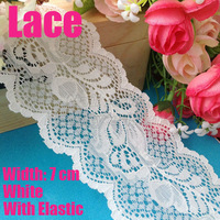 10 meters/ lot  7cm width white elastic  lace  for fabric warp knitting DIY Garment Accessories free shipping#1756