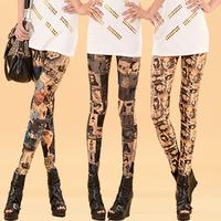 Free shipping hot 2014 fashion female pants doodle flower pants elastic waist high waist thin legging