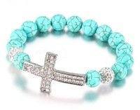 Free shipping cheap 10mm turquoise beads rhinestone cross sideways elasticity S050 shamballa bracelet 20pcs/lot