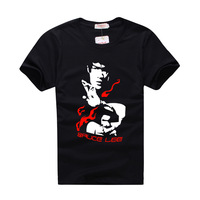 2013 Bruce lee 100% cotton Black Fashion Print t-shirts Free Shipping Short Sleeves Sports Casual Custom Yellow T-Shirt