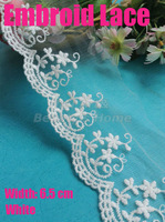 10 meters/ lot  6.5cm width white embroid  lace  for fabric warp knitting DIY Garment Accessories free shipping#1762