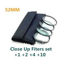 4 pcs 52mm 52 mm Close up Macro +1 +2 +4 +10 SLR Lens Filter Kit Set For Nikon Canon Camera free shipping+tracking