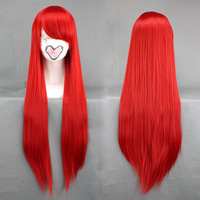 Free shipping 80cm Long Red Straight Synthetic Cosplay Anime Wig