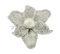 Free shipping!!!Rhinestone Brooch,Cheap Jewelry Fashion, Cultured Freshwater Pearl, with Zinc Alloy, Flower