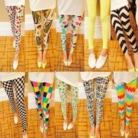 New Autumn 2014 Plus size elastic gauze doodle leggings punk print candy color ankle length trousers thin pants women leggings