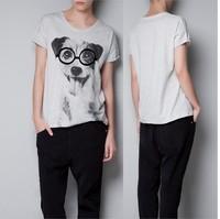 Free ship  women's  t shirts short sleeve 100% cotton t-shirt lady t shirt Cute bulldog puppy wearing glasses