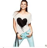 Free shipping lady heart printing round neck T-shirt cuffs women's short-sleeve 100% cotton shirt