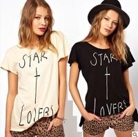 Free ship women's American cowboy style printing Weila t shirt short sleeve 100% cotton t-shirt lady t shirts