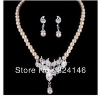 Factory cheap price water drop pearl jewelry sets crystal wedding jewelry