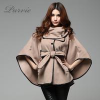 2013 autumn winter women's wool coats cloak cape bow PU belt girl's trench fashion lady's warm outerwear,free shipping