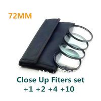 4 pcs 72mm 72 mm Close up Macro +1 +2 +4 +10 SLR Lens Filter Kit Set For Nikon Canon Camera free shipping+tracking