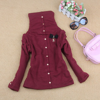 2012 female child elegant metal buckle thermal berber fleece thickening sweatshirt pullover