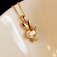 2013 newest Fashion   jewelry bijoux.Imitation zircon sautoir bunny necklace . J937