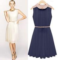 Spring 2014 New Fashion Women Chiffon Patchwork Vintage Elegant Dress with Belt Plus Large Big Size High Street Sexy Tunic Z462