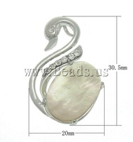 Free shipping!!!Natural White Shell Pendants,Jewelry Making, Swan, natural, white, 20x30.50x6mm, Hole:Approx 2.5x4.5mm