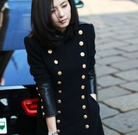 522 # 2013 new autumn and winter high-round fight with money leather double-breasted woolen coat Slim was thin