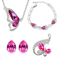 Free shipping fashion silver Austrian crystal butterfly necklace crystal drop earrings bracelets brooch 4 fashion jewelry set