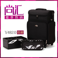 Lighten-end 2013 Large canvas professional trolley cosmetic box hair sticks Case