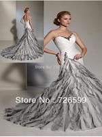 Free shipping 2014 New Style Elegant White/Ivory Long Mermaid/Trumpet Organza Beading Bridal Gown Wedding Dresses Custom Size