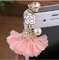 (Min order$10)Free Shipping! Dust plug Flower mobile phone dust proof plug!