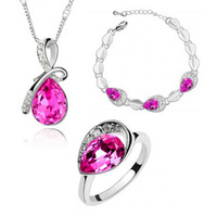 Free Shipping Fashion Silver plated Austrian crystal drop necklace crystal ring bracelet 3 jewelry set