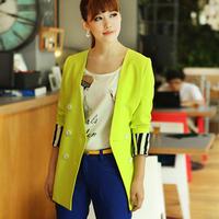 Free shipping 2013 autumn women's plus size fashion neon color double breasted loose blazer suit jacket,cotton blazer,coat women