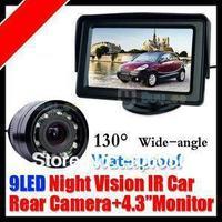 "4.3"" Car LCD  Monitor Kit +  Waterproof Car Reversing Camera kit Night Vison camera 135 degree with 5M cable"