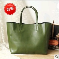 Free shipping Fashion casual vintage cowhide shoulder bag cabas handbags large genuine leather tote  shopping women's claretred