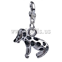Free shipping!!!Zinc Alloy Lobster Clasp Charm,Gift, Dog, enamel, black, nickel, lead & cadmium free, 29x19x6.50mm