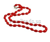 Free shipping 35% off Coral Necklace,african style jewelry, Natural Coral, brass lobster clasp, Oval, red, 8x5mm, Length:17 Inch