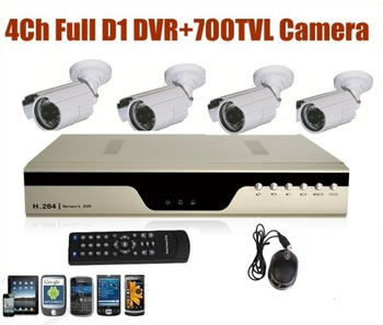 4 Channel Full d1 IR Weatherproof Surveillance CCTV Camera Indoor Waterproof Camera Kit Home Security DVR Recorder System