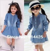 Retail 2014 new autumn children's clothing girls casual princess dresses kids cotton thin denim long-sleeve dress