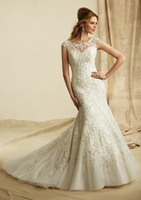 Free Shipping 2013 Mermaid Vest (Can Select Design) Sleeveless Appliques Lace Organza Custom Made Bridal Gown Wedding Dress