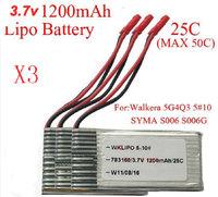 3X 3.7V 1200mAh 25C Lipo Battery RC Walkera WKLIPO-5#10 5G4Q3 SYMA S006